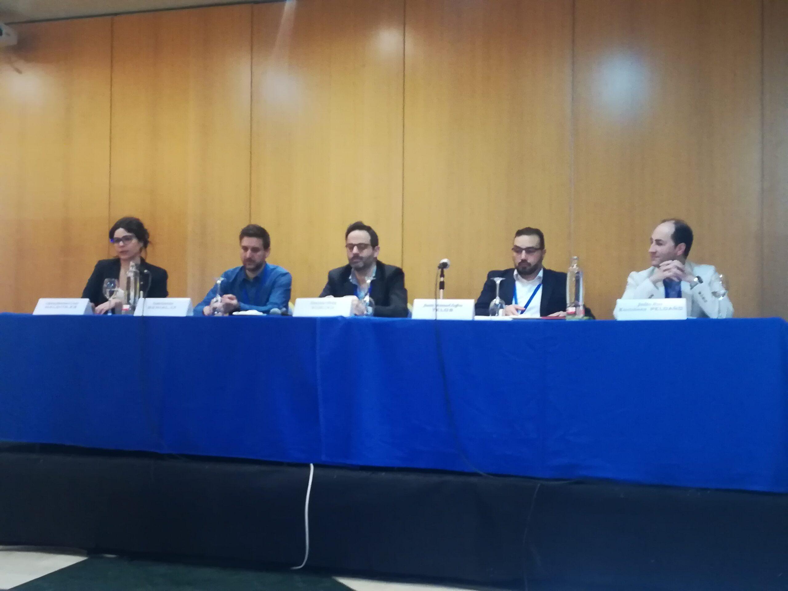 De izquierda a derecha, Clara Jiménez Cruz, Luis García, Antonio Ortiz, Juan Manuel Zafra y Julio Ros.
