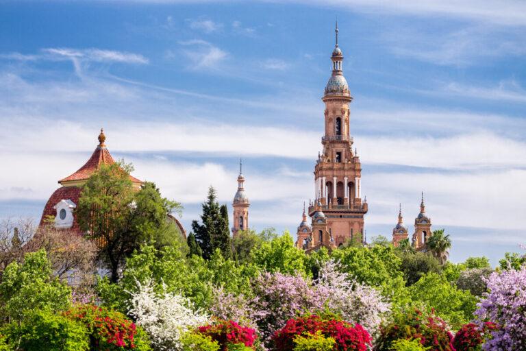 Towers of Plaza de Espana. Seville. Spain.